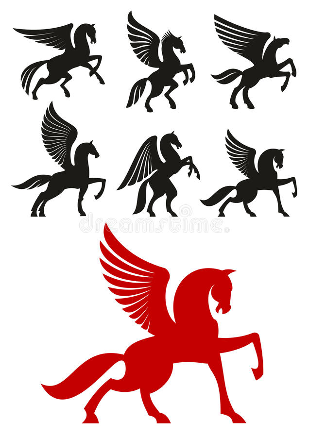 Pegasus horses icons for heraldic design. Pegasus horses silhouettes of prancing and rearing up winged horses with raised and folded wings. Heraldic theme or t royalty free illustration