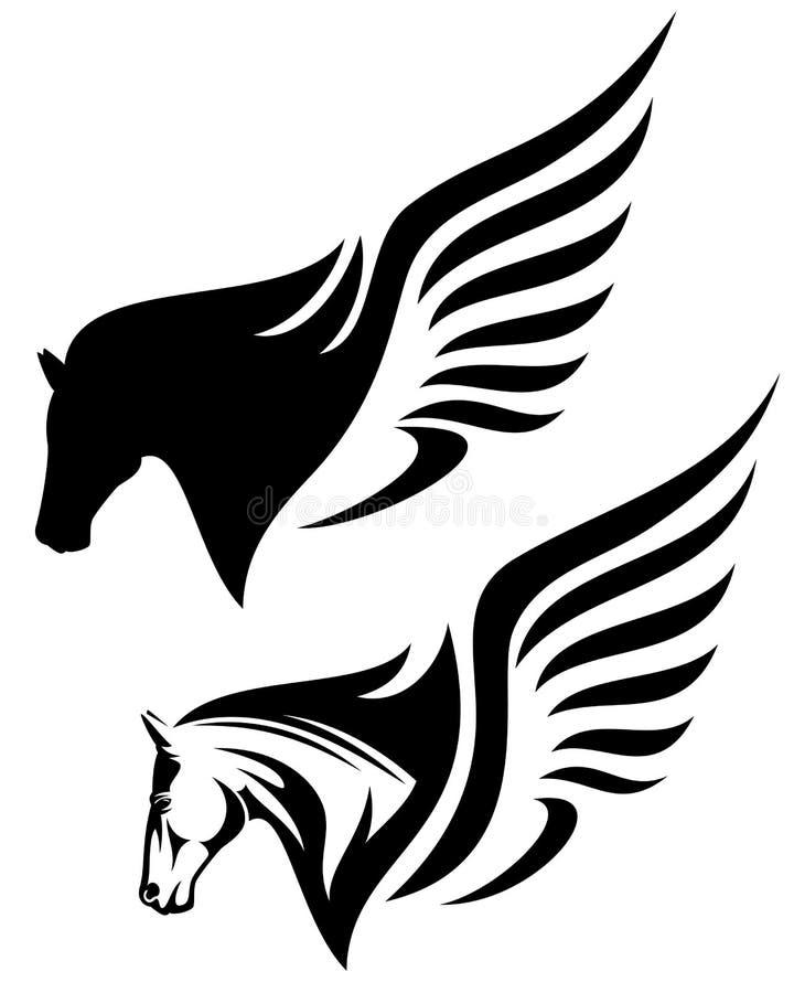 Pegasus huvud vektor illustrationer