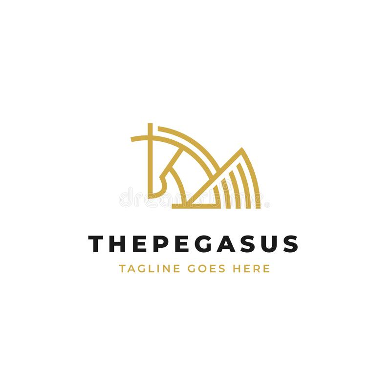 Pegasus linje vektor för konstlogodesign enkel häst med vingar och den horn- översiktssymbolen vektor illustrationer