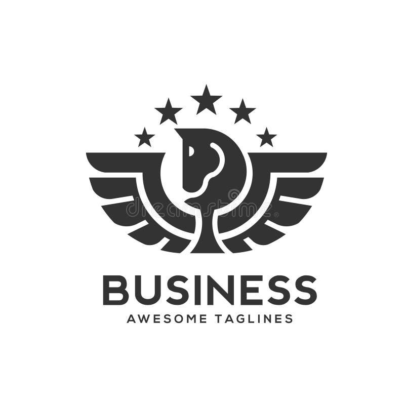 Pegasus logo med stjärnavektorn royaltyfri illustrationer