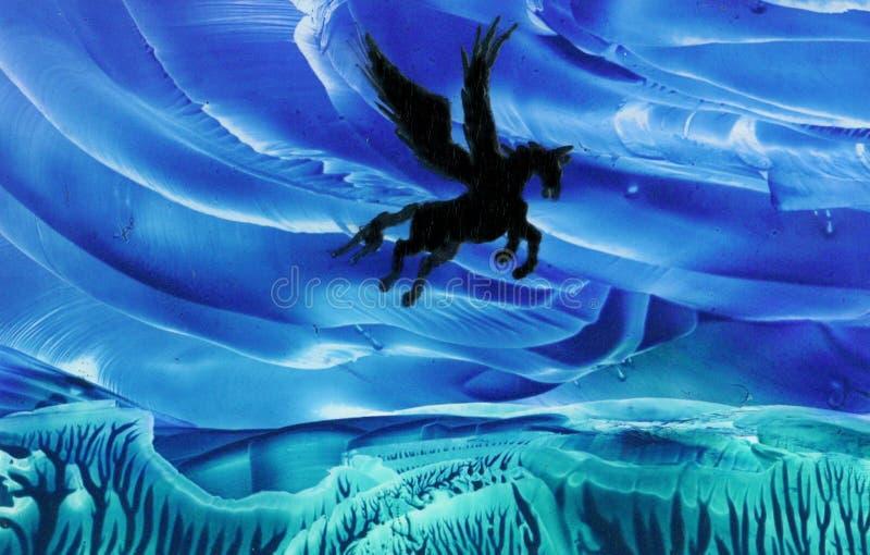 Pegasus no vôo ilustração do vetor