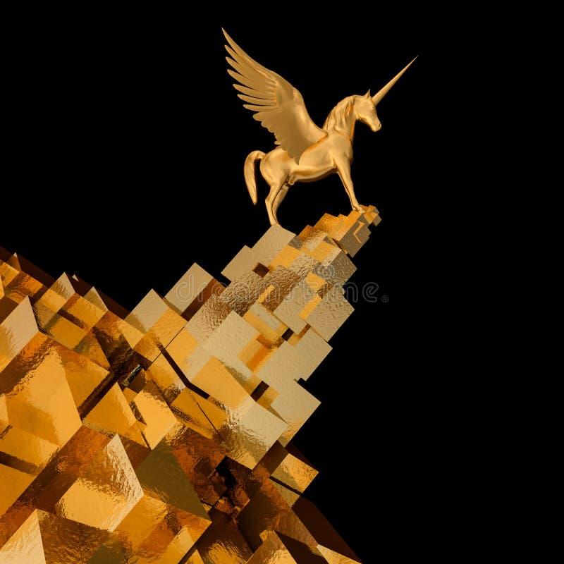 Pegasus op gouden kubusberg opstarten, illustratieconcept van leider op een markt vector illustratie