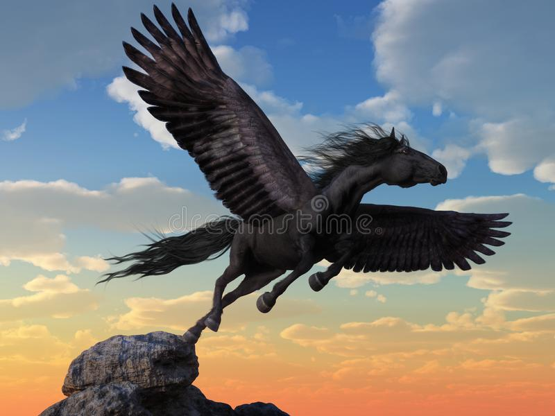 Pegasus preto ilustração do vetor