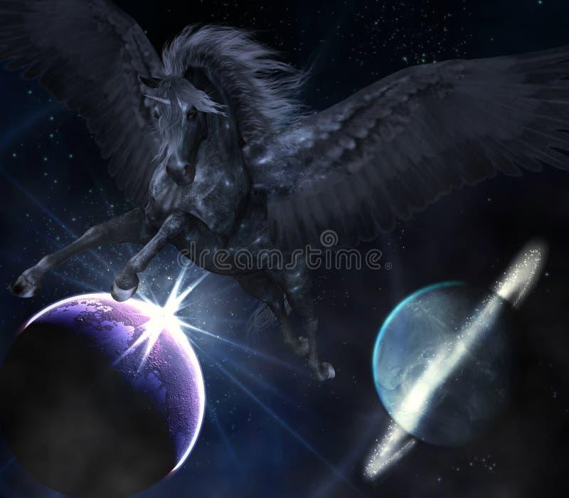 Pegasus preto ilustração stock