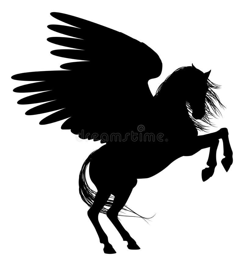 Pegasus in Silhouette stock illustration