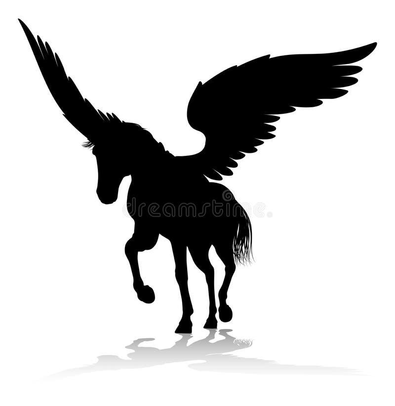 Pegasus Silhouette Mythological Winged Horse vector illustration