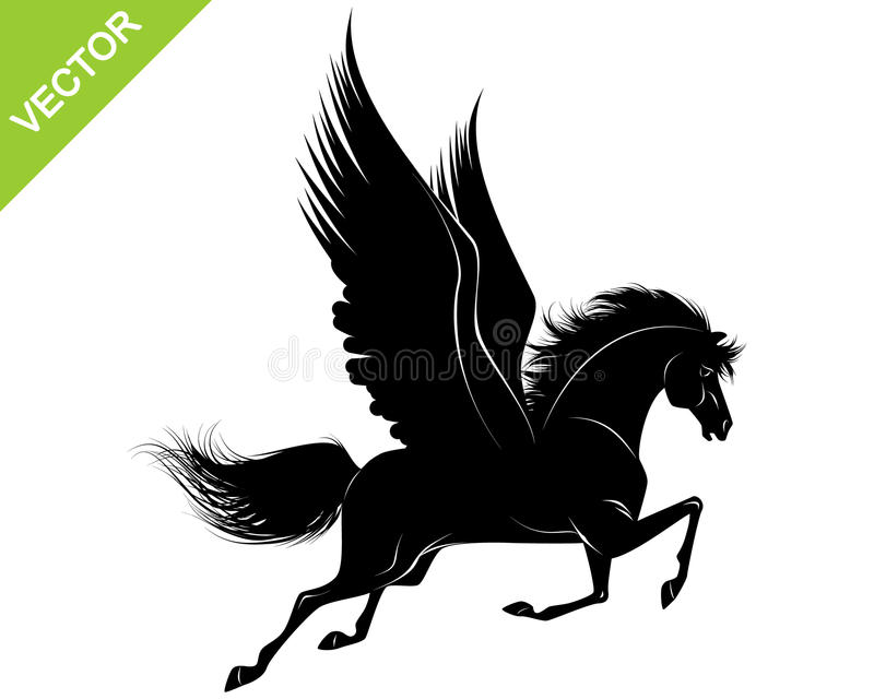 Pegasus svartkontur stock illustrationer