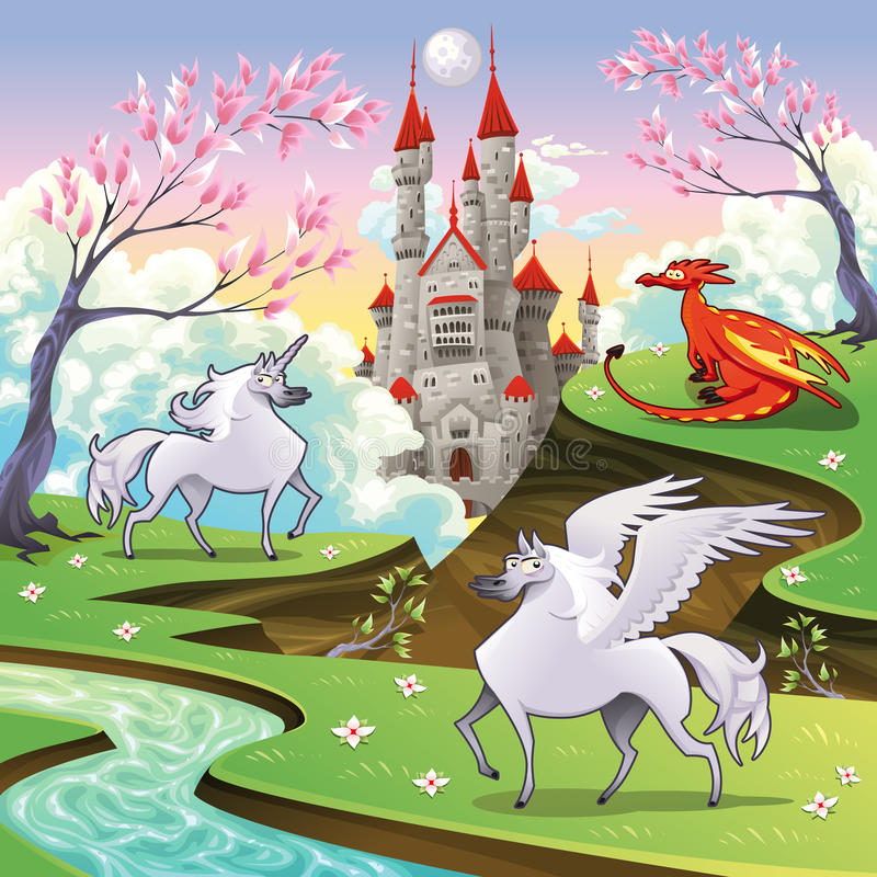 Pegasus, unicórnio e dragão em uma terra mitológica