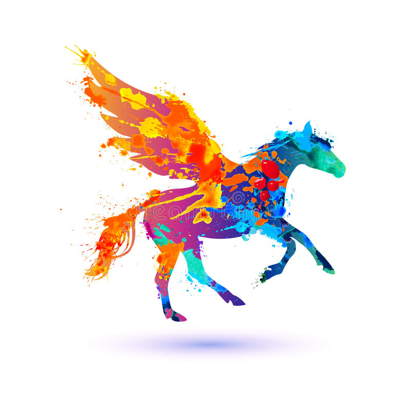 Pegasus-Vektorsymbol Aquarellspritzenfarbe lizenzfreie abbildung
