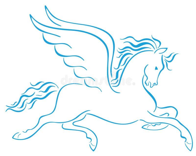 Pegasus voou silhuetas dos cavalos ilustração do vetor