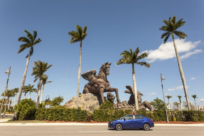 Pegasusstandbeeld bij Gulfstream-Park, Florida royalty-vrije stock afbeeldingen