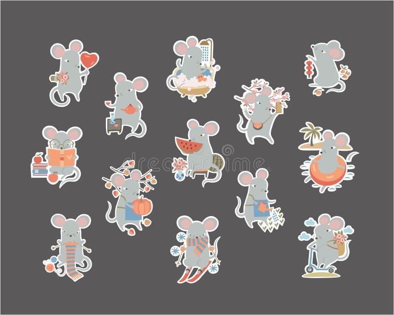 Pegatinas conjunto de un lindo personaje de ratón haciendo diferentes actividades, rata graciosa - símbolo de 2020 años stock de ilustración