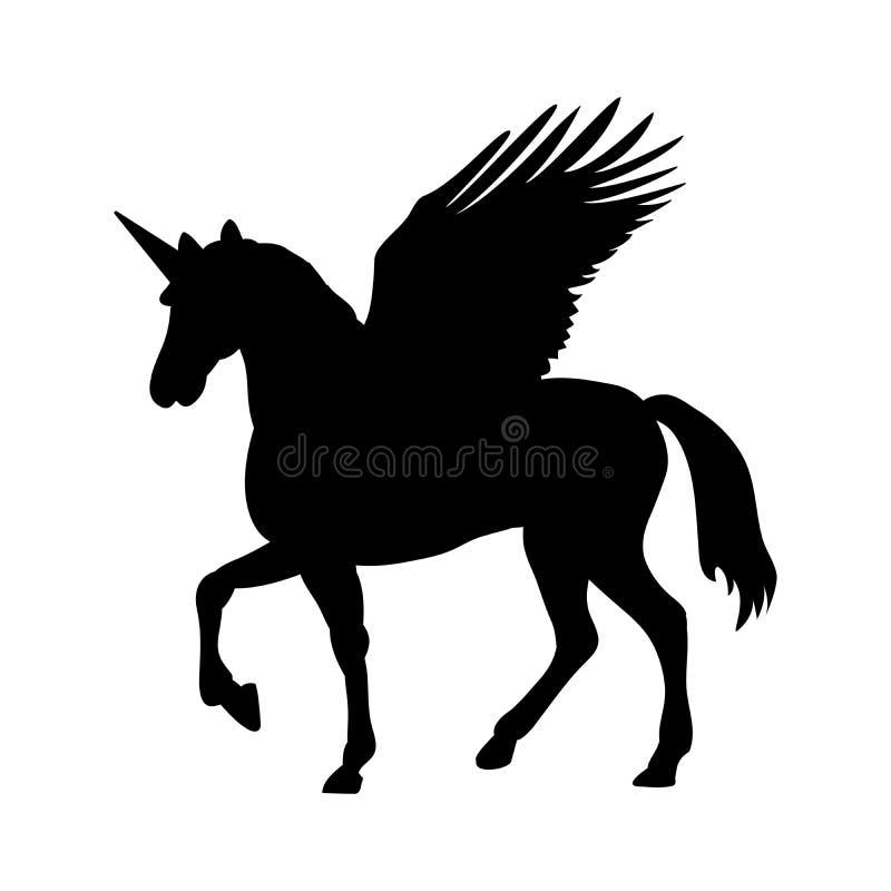 Pegaz jednorożec sylwetki mitologii symbolu fantazi bajka royalty ilustracja