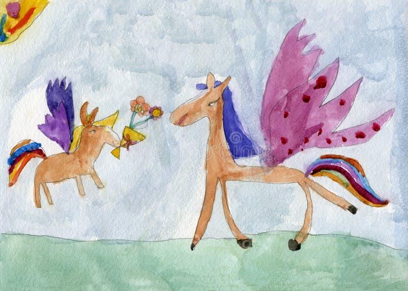 Pegaza koń jego źrebię z kwiatami ilustracji