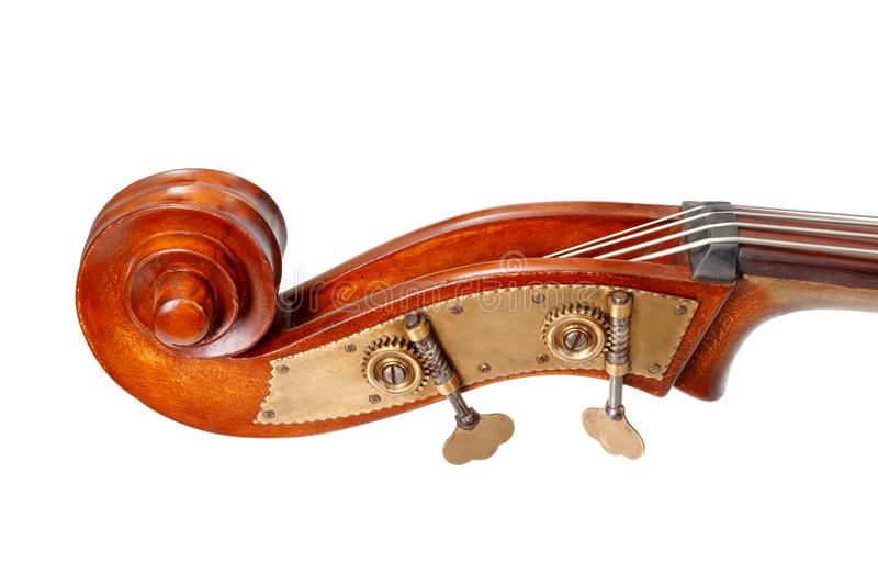 Pegbox, scroll and tuning keys of a contrabass stock image