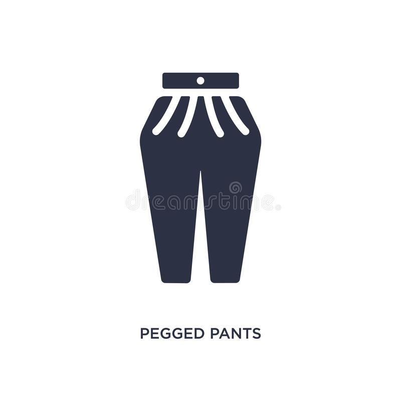Pegged pants icon on white background. Simple element illustration from clothes concept. Pegged pants isolated icon. Simple element illustration from clothes stock illustration