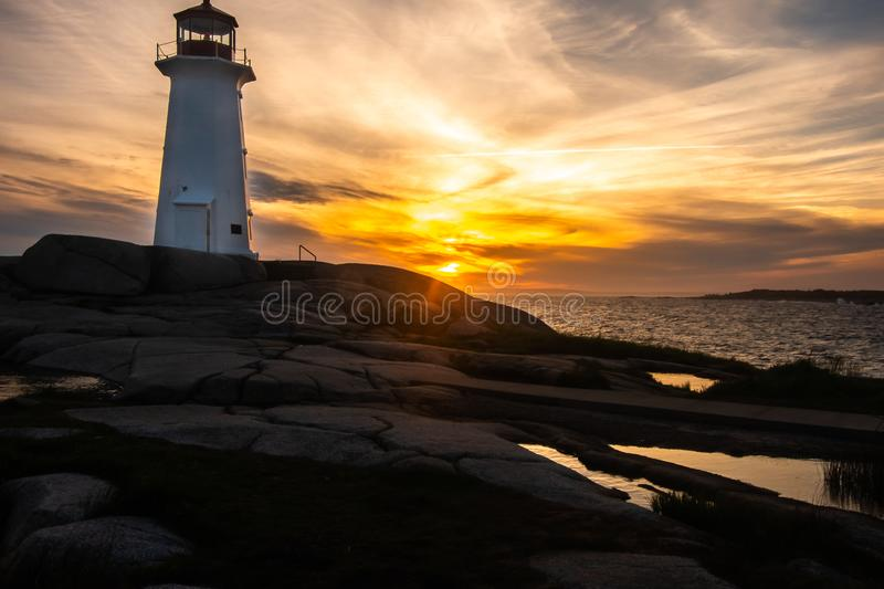 Peggy`s Cove Lighthouse at sunset stock photography