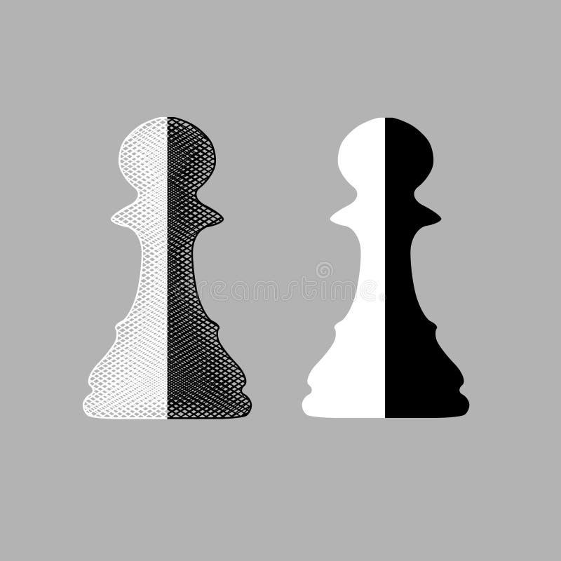 Pegni in bianco e nero di scacchi illustrazione di stock