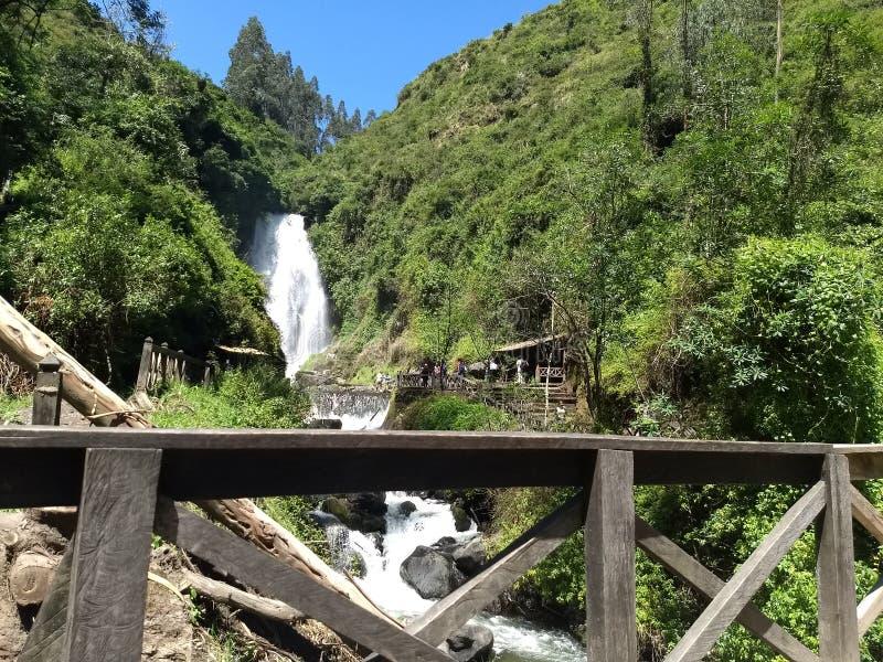 Peguche瀑布 库存照片