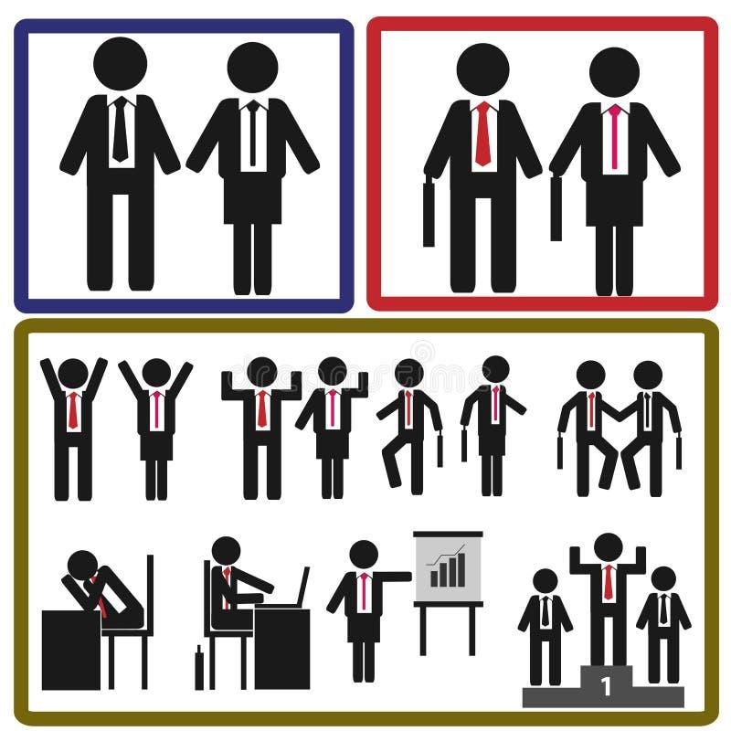 Pegue el icono del hombre y de la mujer de negocios en la acción stock de ilustración