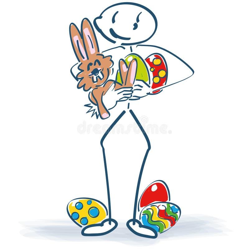 Pegue la figura con el conejito de pascua y los huevos de Pascua libre illustration