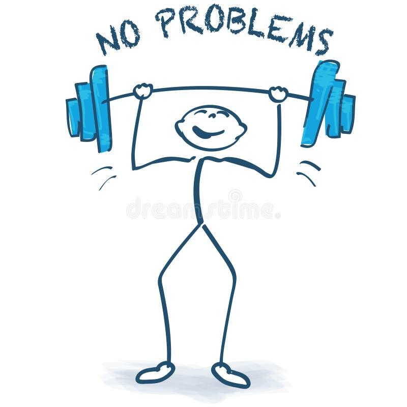 Pegue la figura con el levantamiento de pesas y ningunos problemas stock de ilustración