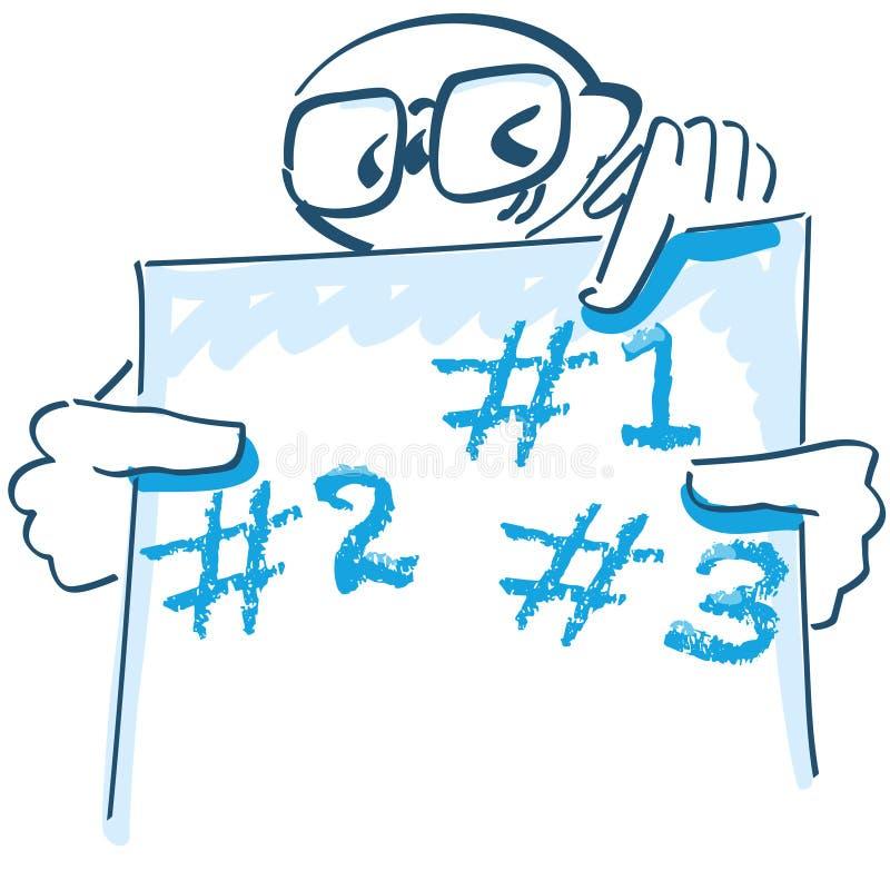 Pegue la figura con un cartel que señala a tres discusiones ilustración del vector