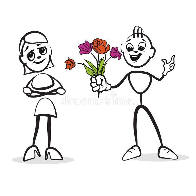 Pegue la figura emociones de la serie - día del ` s de la tarjeta del día de San Valentín ilustración del vector