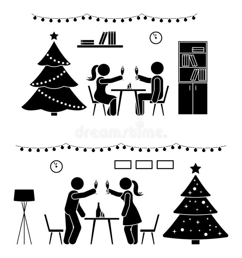 Pegue la figura hombre y mujer en el icono del partido del Año Nuevo Pares felices que celebran cerca de pictograma del árbol libre illustration