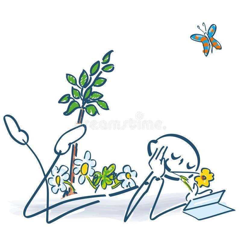Pegue la figura que lee un libro en el jardín ilustración del vector