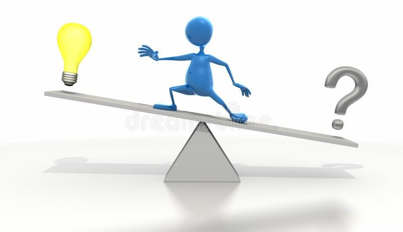 Pegue la figura que se coloca en el balancín con la bombilla ilustración del vector