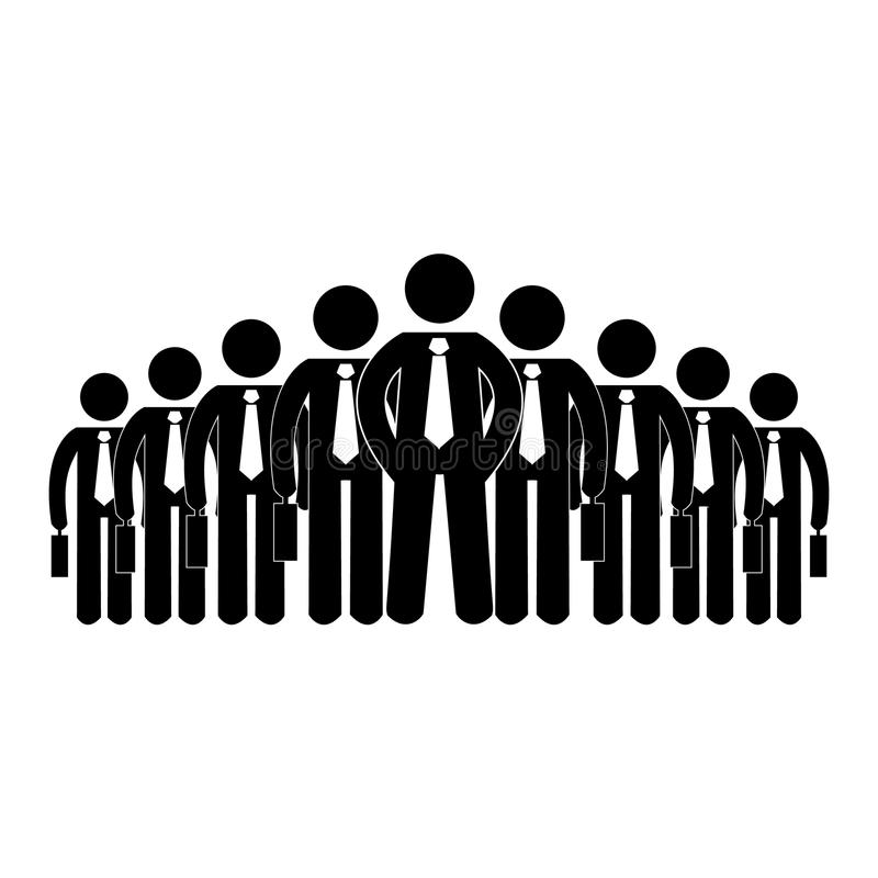 Pegue la figura vector grande de los recursos humanos de la compañía de los hombres de negocios del icono ilustración del vector