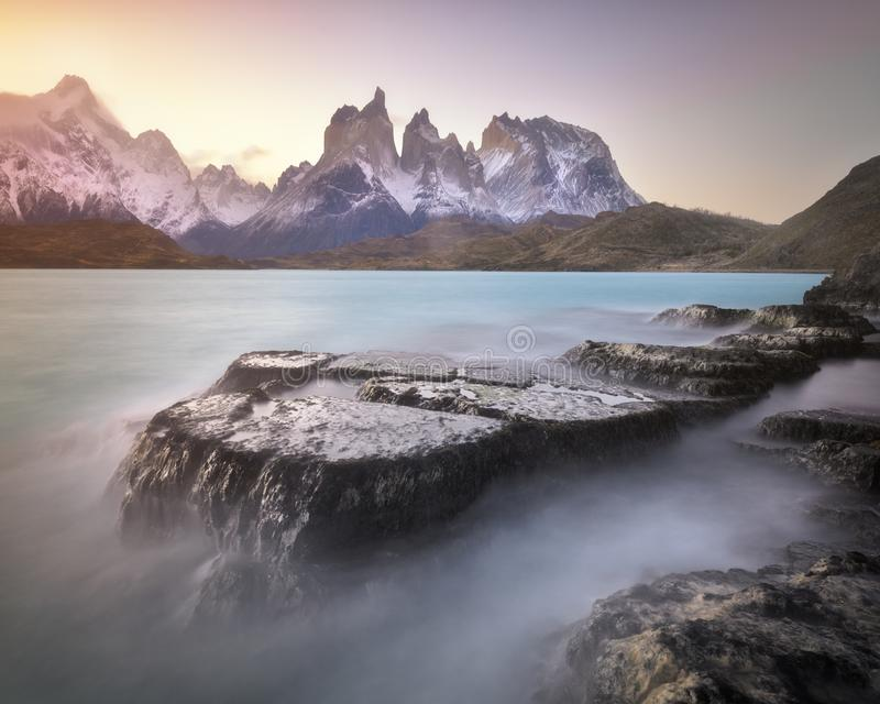 Pehoe Lake and Cuernos Peaks in the Evening, Torres del Paine National Park, Chile royalty free stock image