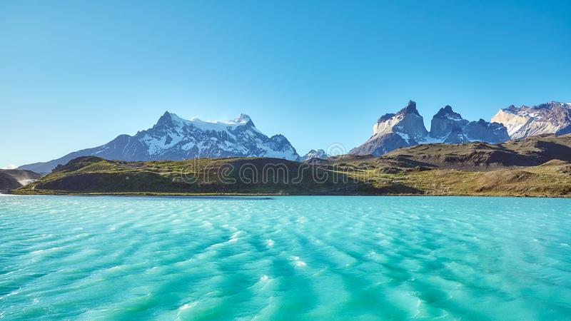 Pehoe Lake and Los Cuernos, Chile. royalty free stock image