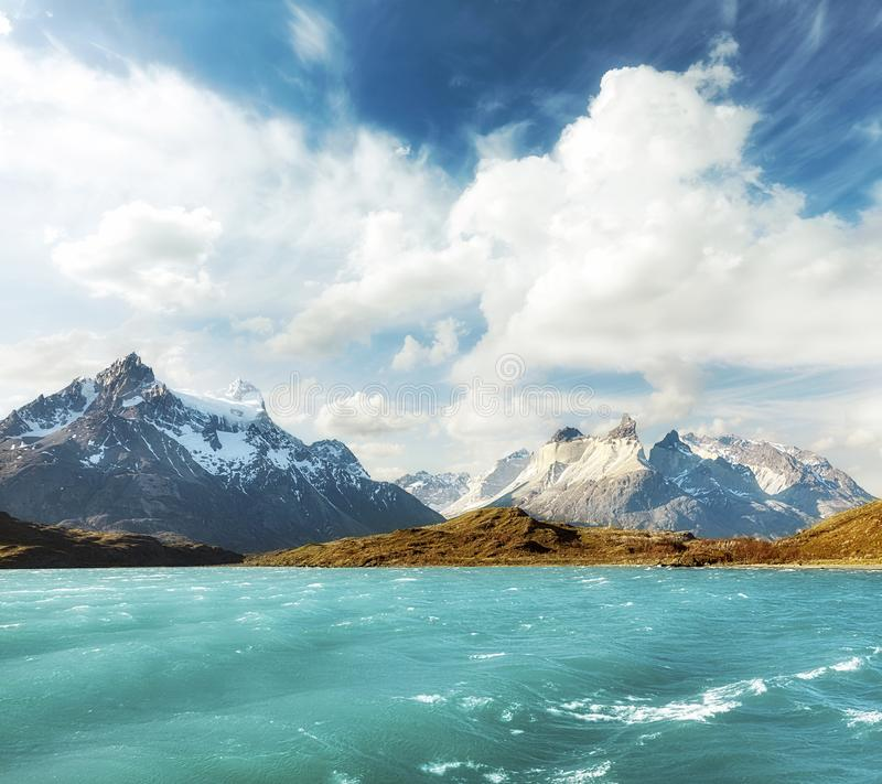 Pehoe Lake and Los Cuernos, Chile. royalty free stock photo