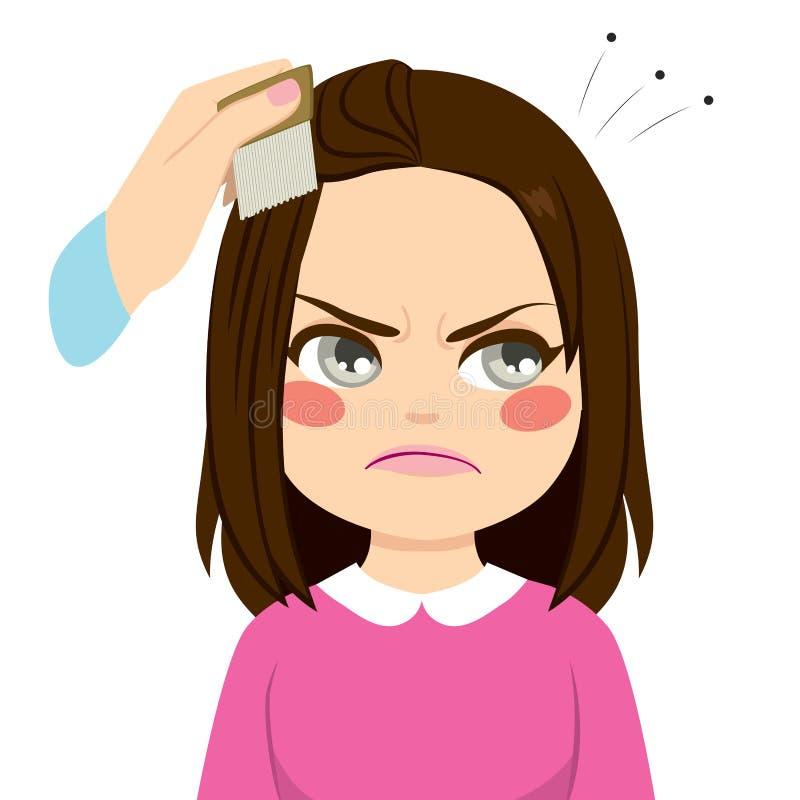 Peignée des poux de cheveux illustration stock