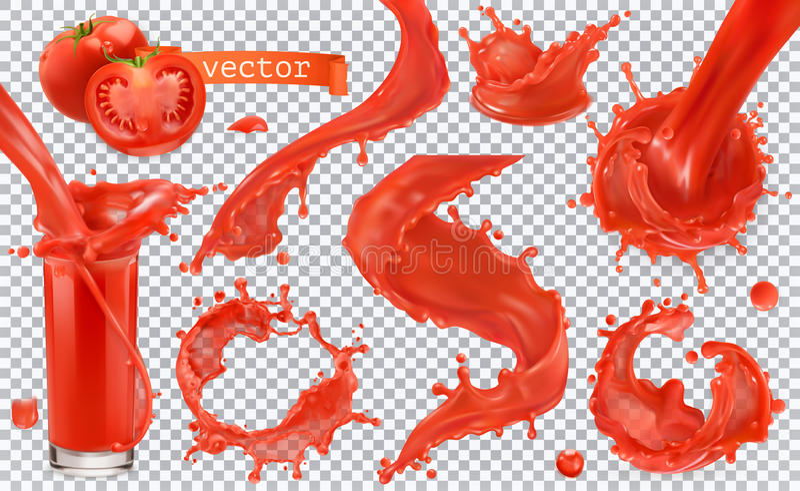 peignez l'éclaboussure rouge Tomate, fraises Ensemble d'icône de vecteur illustration stock