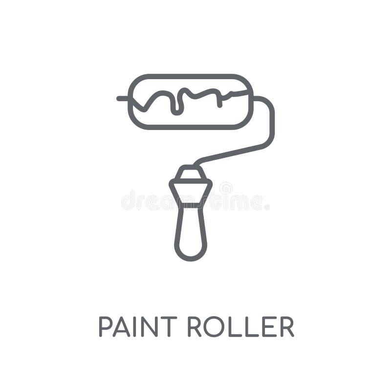 Peignez l'icône linéaire de rouleau Conce moderne de logo de rouleau de peinture d'ensemble illustration stock