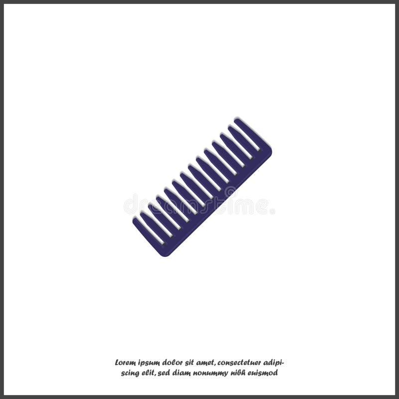Peignez l'icône Pour peigner l'accessoire de cheveux, femelle et masculin sur le fond d'isolement blanc illustration libre de droits