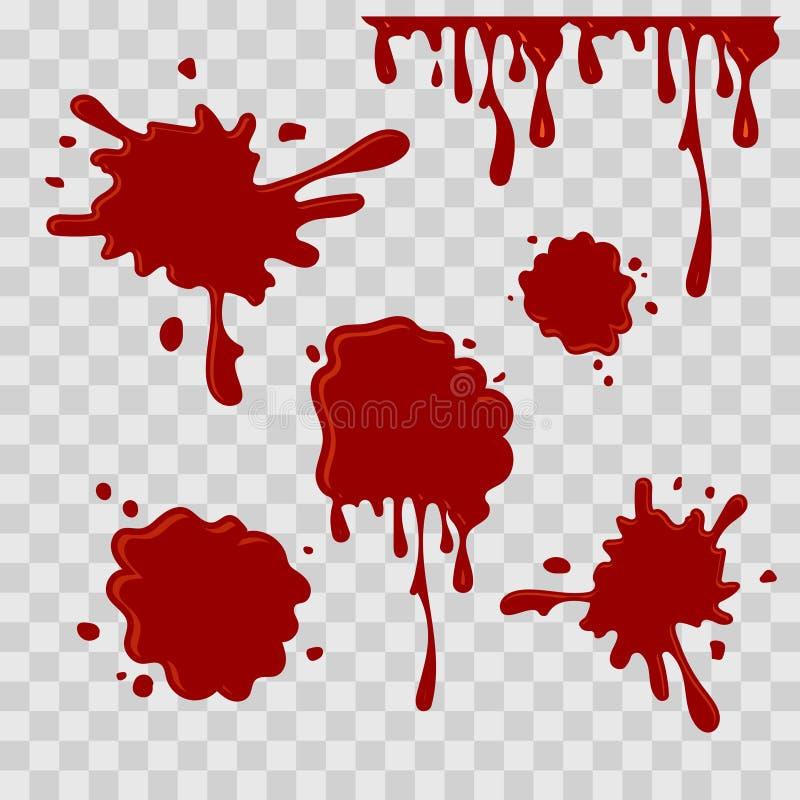 Peignez l'illustration abstraite de baisse Sang rouge sur le fond transparent à carreaux Style plat Ensemble de vecteur illustration stock