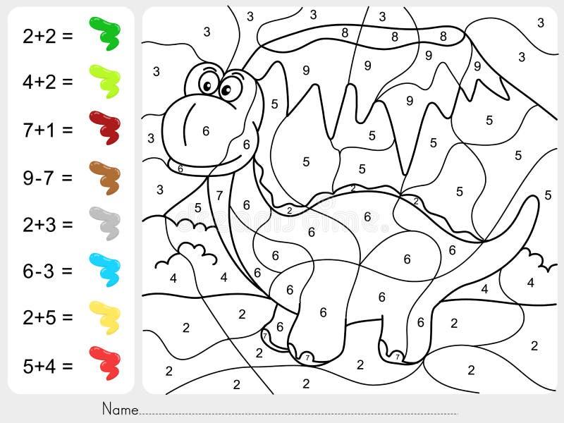 Peignez la couleur par des nombres - addition et fiche de travail de soustraction pour l'éducation illustration libre de droits