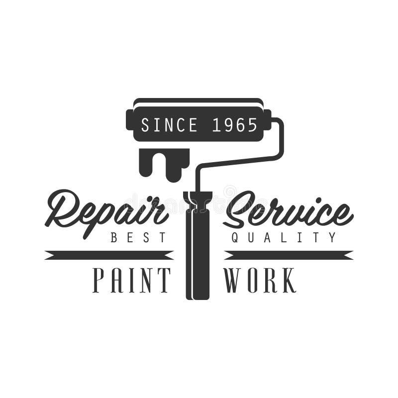 Peignez le calibre noir et blanc de conception de signe de travail, de réparation et de service de rénovation avec le texte avec  illustration libre de droits