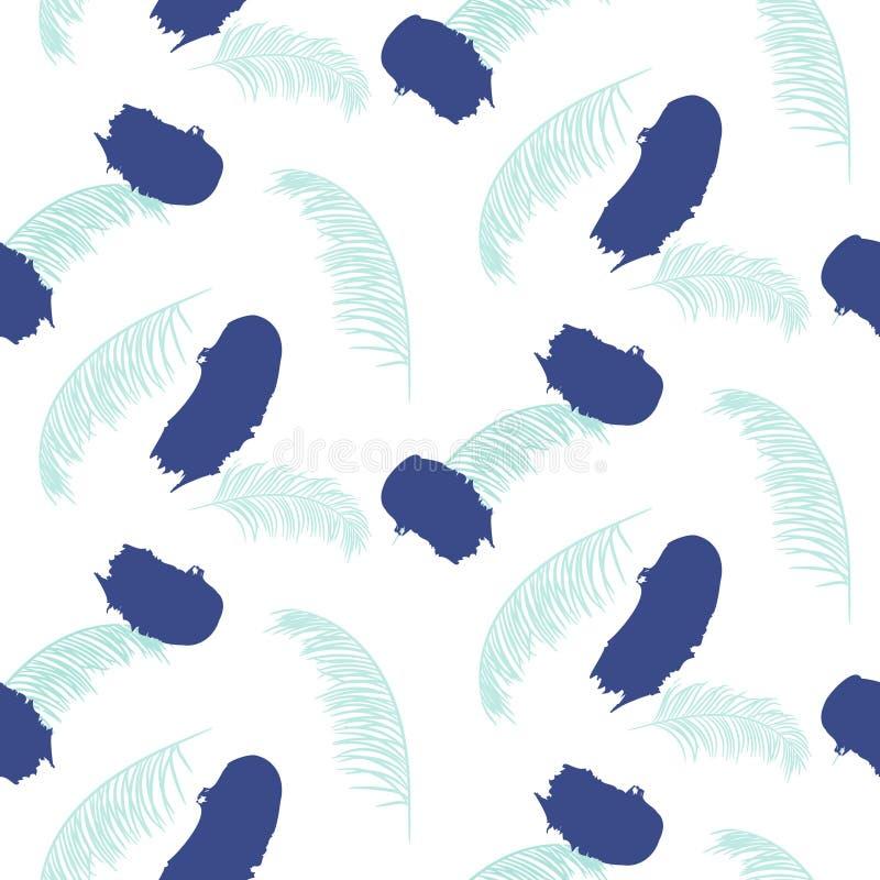 Peignez le modèle bleu sans couture de vecteur de traçages illustration stock