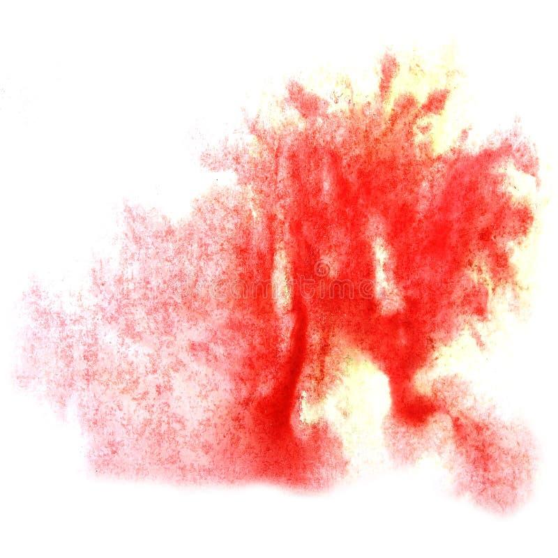 Peignez le watercolo pour aquarelle de brosse de tache de goutte d'éclaboussure de tache rouge d'encre illustration libre de droits
