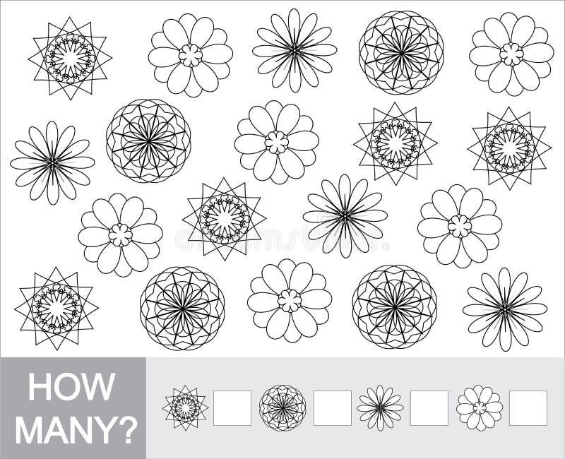 Peignez les fleurs de griffonnage et comptez combien Jeu pour des enfants illustration de vecteur