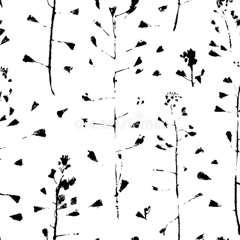 Peignez les pastoris de Brousse de Capsella pour l'usage de conception Fond sans couture d'empreinte abstraite Feuille de grunge  illustration de vecteur