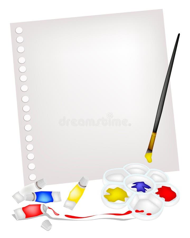 Peignez les tubes dans la palette avec la brosse à la page vide illustration libre de droits