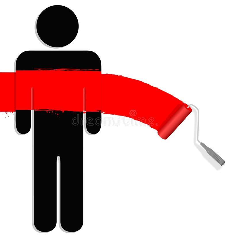 Peignez une personne rouge illustration de vecteur