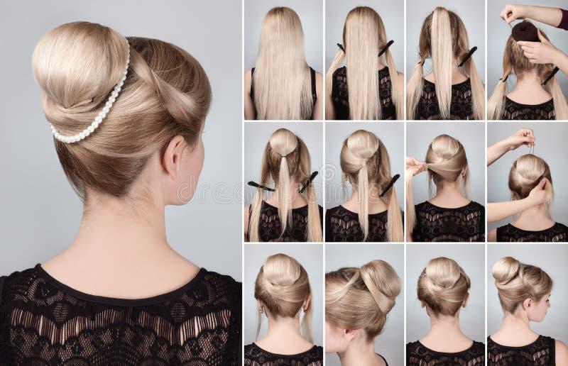 Peinado con el bollo para el tutorial largo del pelo foto de archivo libre de regalías