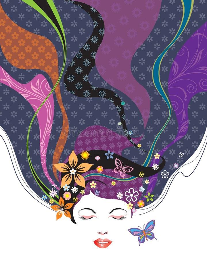 Peinado de la belleza ilustración del vector